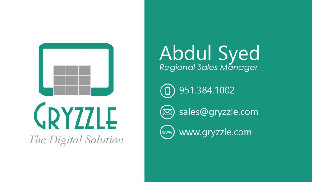 Gryzzle Business Card – Front