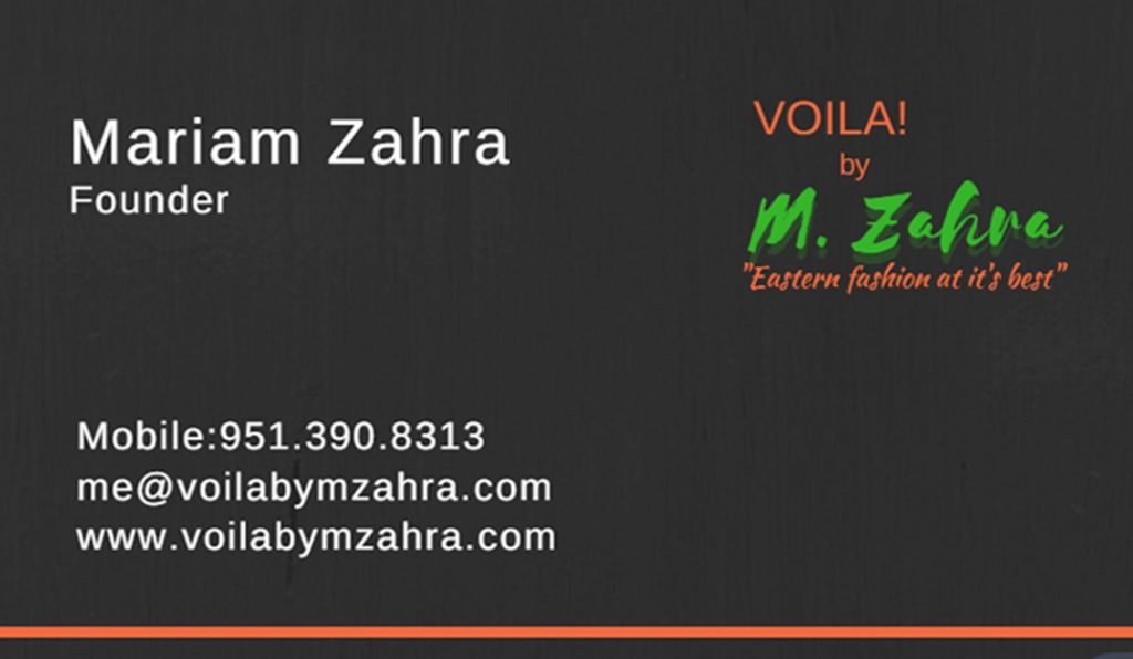 Voila By M.Zahra Business Card – Front